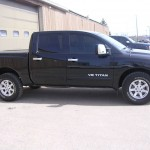 Nissan Titan Llumar 15% on fronts to match factory rear glass.